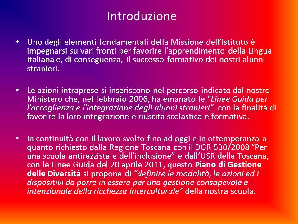 Introduzione Uno degli elementi fondamentali della Missione dellIstituto è impegnarsi su vari fronti per favorire l'apprendimento della Lingua Italian