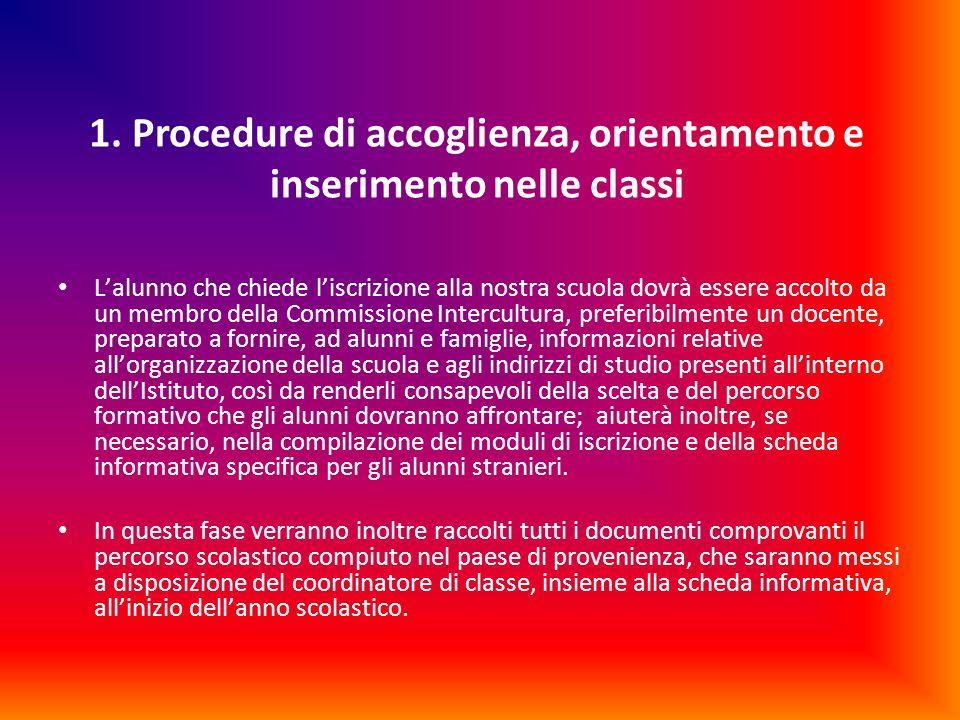 1. Procedure di accoglienza, orientamento e inserimento nelle classi Lalunno che chiede liscrizione alla nostra scuola dovrà essere accolto da un memb