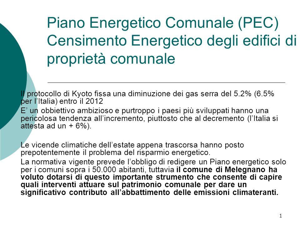 1 Piano Energetico Comunale (PEC) Censimento Energetico degli edifici di proprietà comunale Il protocollo di Kyoto fissa una diminuzione dei gas serra del 5.2% (6.5% per lItalia) entro il 2012 E un obbiettivo ambizioso e purtroppo i paesi più sviluppati hanno una pericolosa tendenza allincremento, piuttosto che al decremento (lItalia si attesta ad un + 6%).