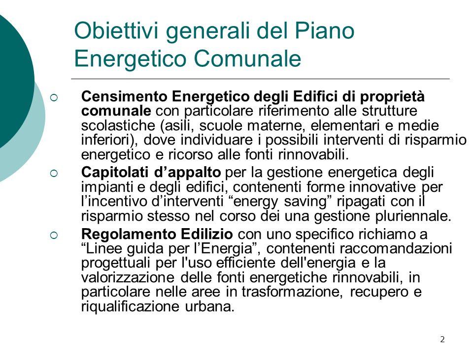 2 Obiettivi generali del Piano Energetico Comunale Censimento Energetico degli Edifici di proprietà comunale con particolare riferimento alle struttur