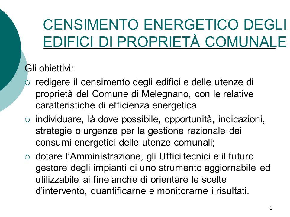 3 CENSIMENTO ENERGETICO DEGLI EDIFICI DI PROPRIETÀ COMUNALE Gli obiettivi: redigere il censimento degli edifici e delle utenze di proprietà del Comune