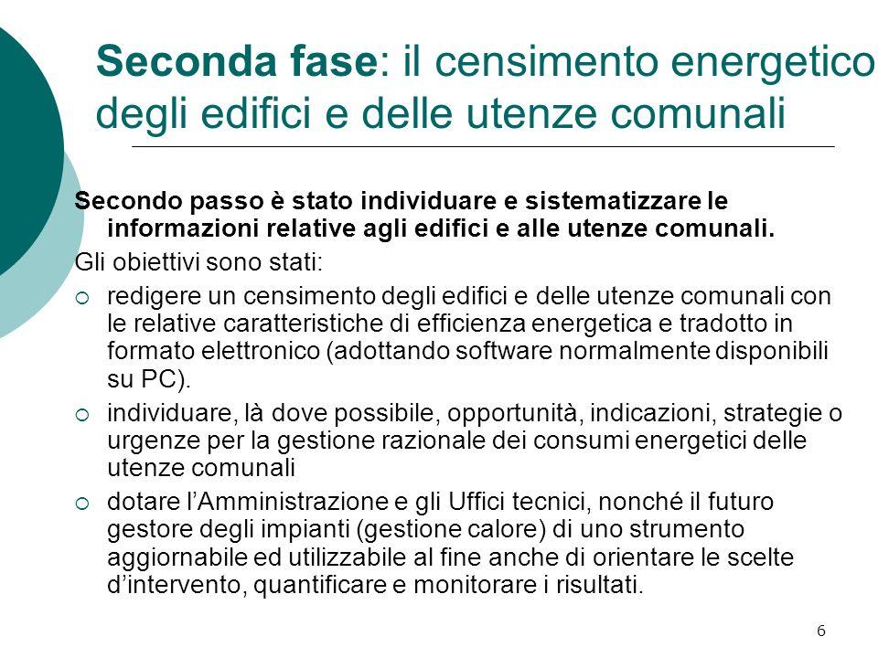 6 Seconda fase: il censimento energetico degli edifici e delle utenze comunali Secondo passo è stato individuare e sistematizzare le informazioni rela