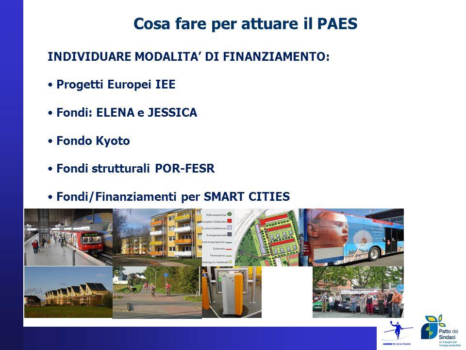 Cosa fare per attuare il PAES INDIVIDUARE MODALITA DI FINANZIAMENTO: Progetti Europei IEE Fondi: ELENA e JESSICA Fondo Kyoto Fondi strutturali POR-FESR Fondi/Finanziamenti per SMART CITIES
