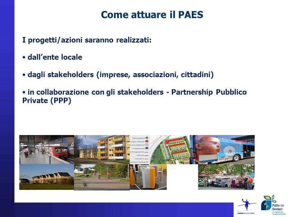 Come attuare il PAES I progetti/azioni saranno realizzati: dallente locale dagli stakeholders (imprese, associazioni, cittadini) in collaborazione con gli stakeholders - Partnership Pubblico Private (PPP)