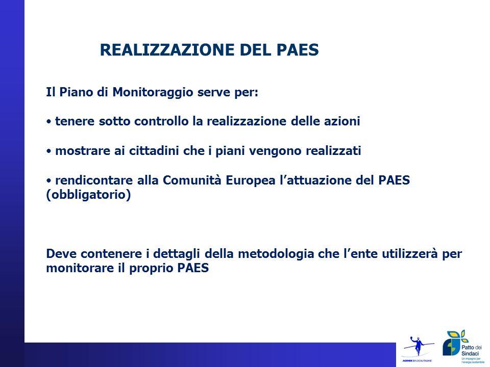 REALIZZAZIONE DEL PAES Il Piano di Monitoraggio serve per: tenere sotto controllo la realizzazione delle azioni mostrare ai cittadini che i piani vengono realizzati rendicontare alla Comunità Europea lattuazione del PAES (obbligatorio) Deve contenere i dettagli della metodologia che lente utilizzerà per monitorare il proprio PAES