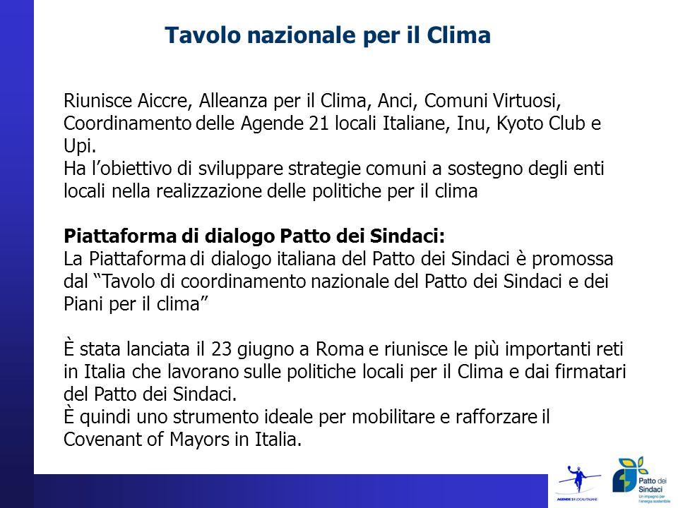 Tavolo nazionale per il Clima Riunisce Aiccre, Alleanza per il Clima, Anci, Comuni Virtuosi, Coordinamento delle Agende 21 locali Italiane, Inu, Kyoto Club e Upi.