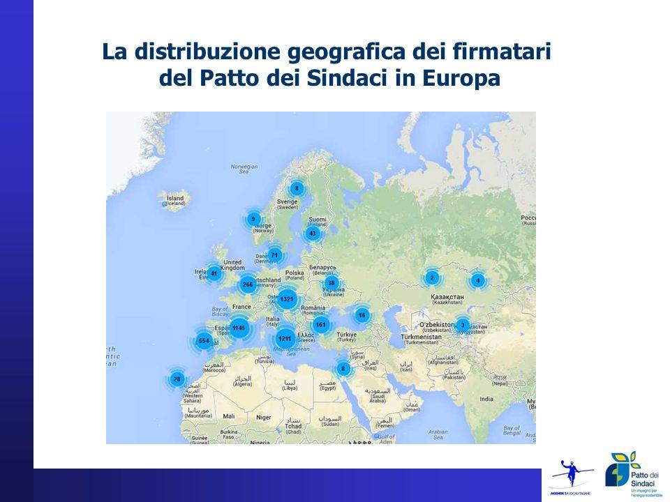 La distribuzione geografica dei firmatari del Patto dei Sindaci in Europa