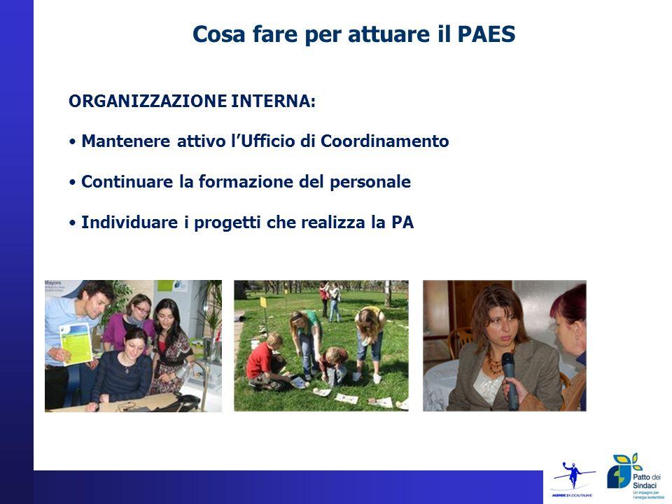 Cosa fare per attuare il PAES ORGANIZZAZIONE INTERNA: Mantenere attivo lUfficio di Coordinamento Continuare la formazione del personale Individuare i progetti che realizza la PA