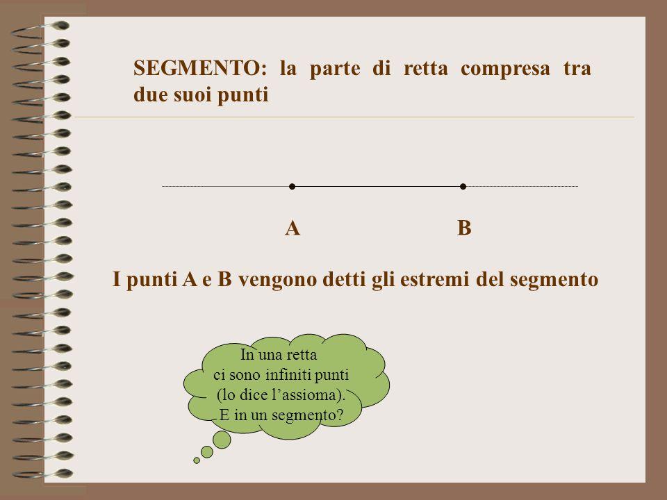 SEGMENTO: la parte di retta compresa tra due suoi punti I punti A e B vengono detti gli estremi del segmento AB In una retta ci sono infiniti punti (l