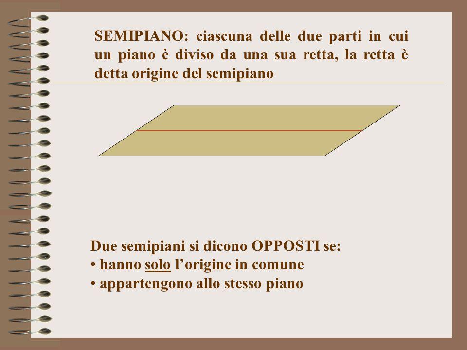 SEMIPIANO: ciascuna delle due parti in cui un piano è diviso da una sua retta, la retta è detta origine del semipiano Due semipiani si dicono OPPOSTI