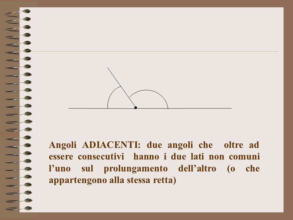 Angoli ADIACENTI: due angoli che oltre ad essere consecutivi hanno i due lati non comuni luno sul prolungamento dellaltro (o che appartengono alla ste
