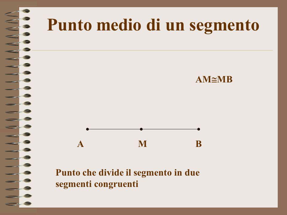 Punto medio di un segmento ABM AM MB Punto che divide il segmento in due segmenti congruenti