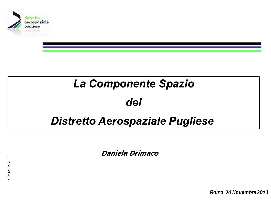 Daniela Drimaco pkm027-696-1.0 La Componente Spazio del Distretto Aerospaziale Pugliese Roma, 20 Novembre 2013
