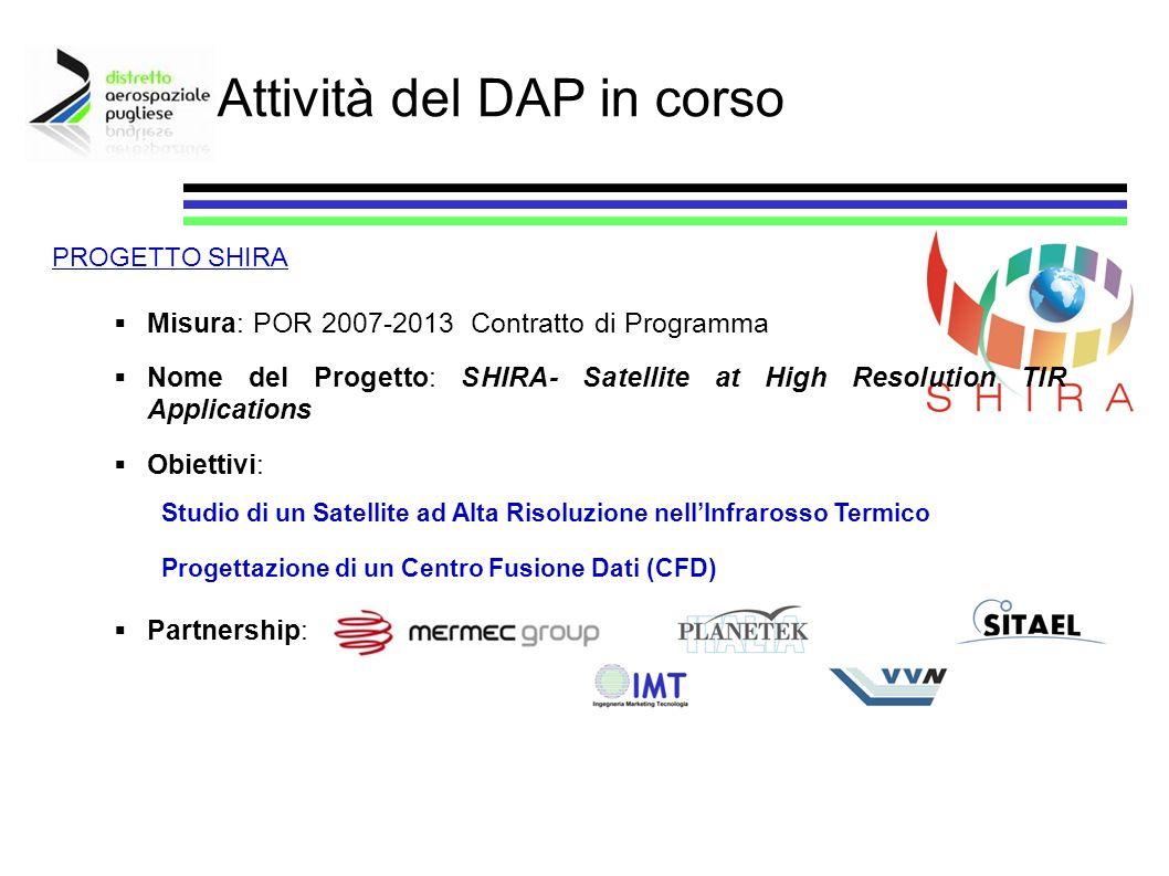 Misura: POR 2007-2013 Contratto di Programma Nome del Progetto: SHIRA- Satellite at High Resolution TIR Applications Obiettivi: Partnership: Attività