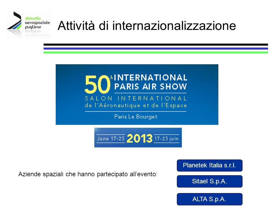 Attività di internazionalizzazione Planetek Italia s.r.l. Sitael S.p.A. Aziende spaziali che hanno partecipato allevento: ALTA S.p.A.
