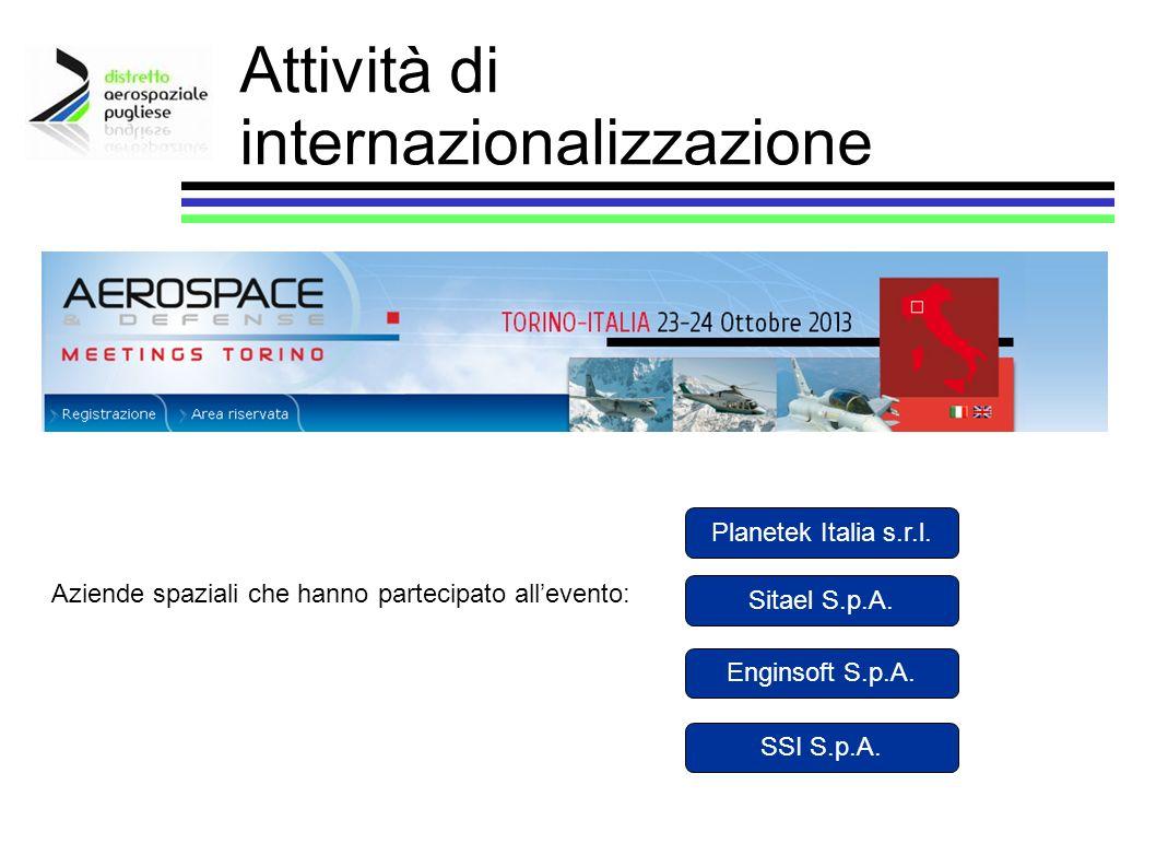 Attività di internazionalizzazione Aziende spaziali che hanno partecipato allevento: Planetek Italia s.r.l. Sitael S.p.A. Enginsoft S.p.A. SSI S.p.A.