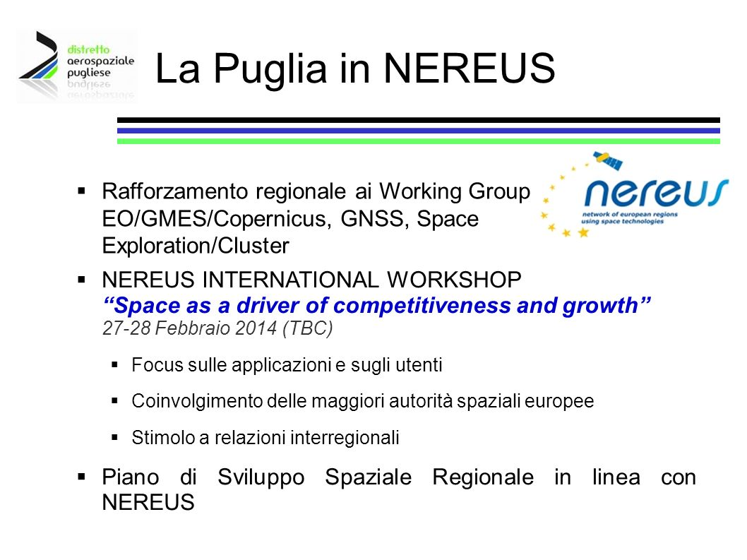 Rafforzamento regionale ai Working Group EO/GMES/Copernicus, GNSS, Space Exploration/Cluster NEREUS INTERNATIONAL WORKSHOP Space as a driver of compet