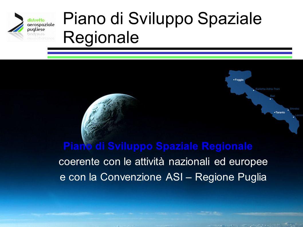Piano di Sviluppo Spaziale Regionale coerente con le attività nazionali ed europee e con la Convenzione ASI – Regione Puglia Piano di Sviluppo Spazial