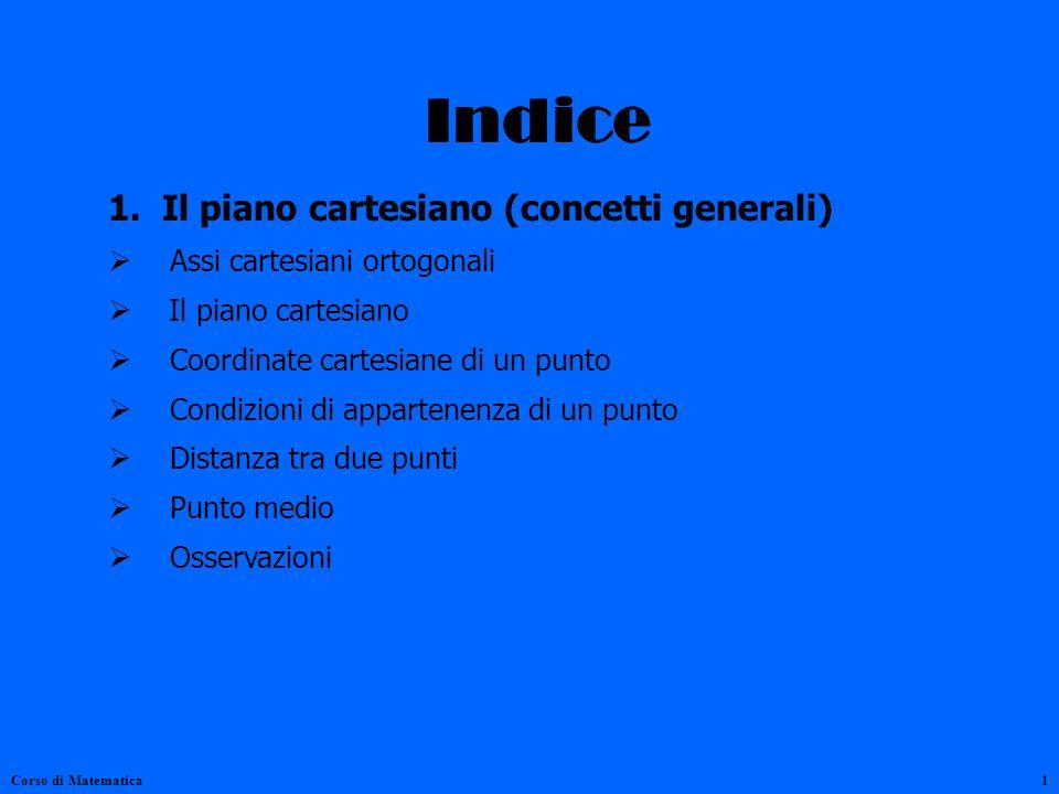 Indice 1. Il piano cartesiano (concetti generali) Assi cartesiani ortogonali Il piano cartesiano Coordinate cartesiane di un punto Condizioni di appar