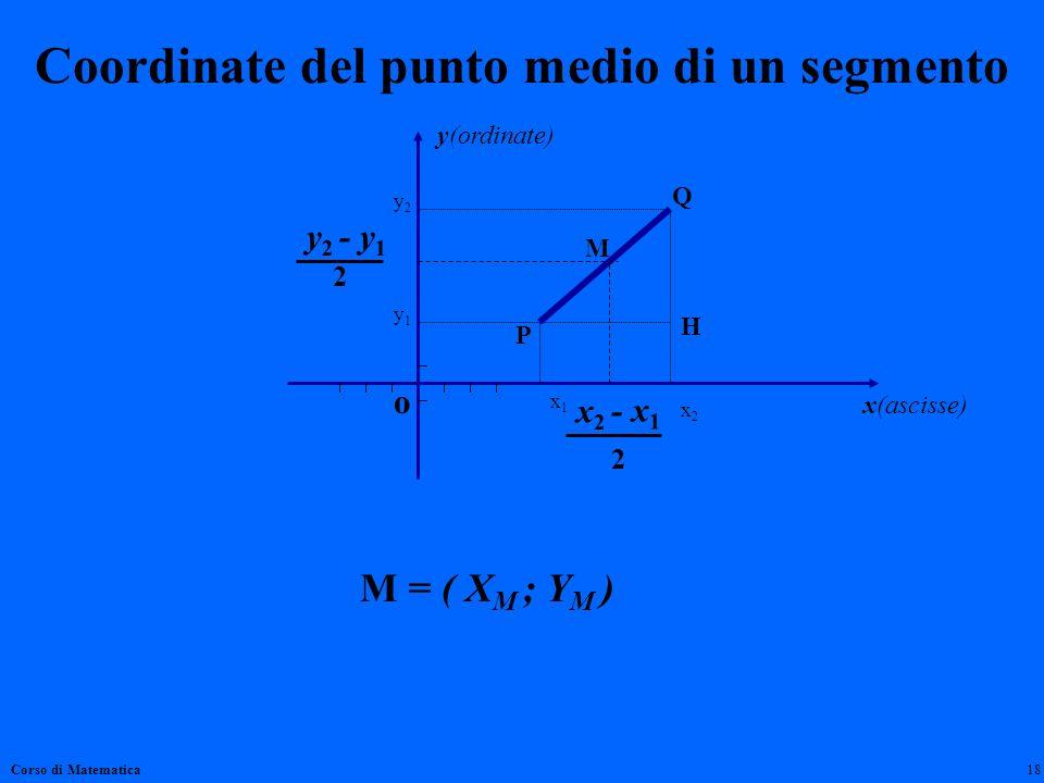 Coordinate del punto medio di un segmento Corso di Matematica18 y(ordinate) x(ascisse) o y2y2 y1y1 x2x2 x1x1 y 2 - y 1 x 2 - x 1 Q P H 2 2 M M = ( X M