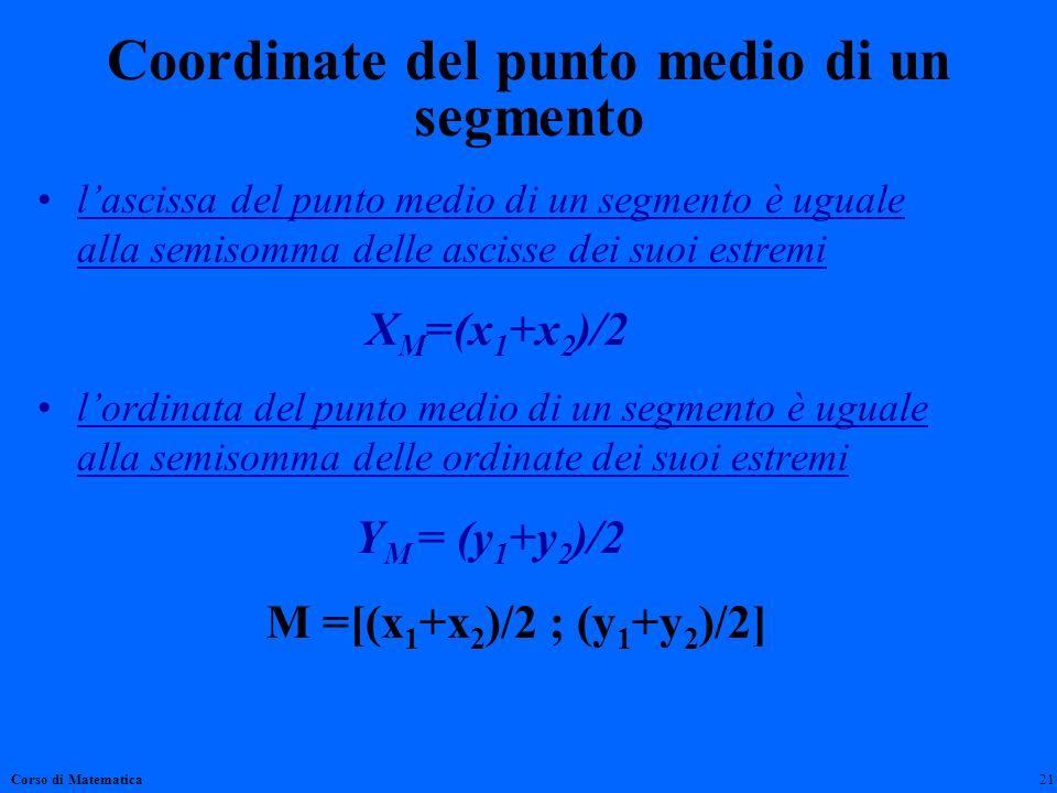 Coordinate del punto medio di un segmento lascissa del punto medio di un segmento è uguale alla semisomma delle ascisse dei suoi estremi X M =(x 1 +x