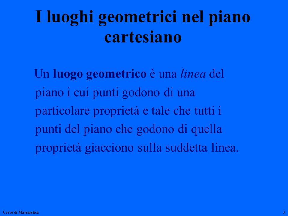 I luoghi geometrici nel piano cartesiano Un luogo geometrico è una linea del piano i cui punti godono di una particolare proprietà e tale che tutti i