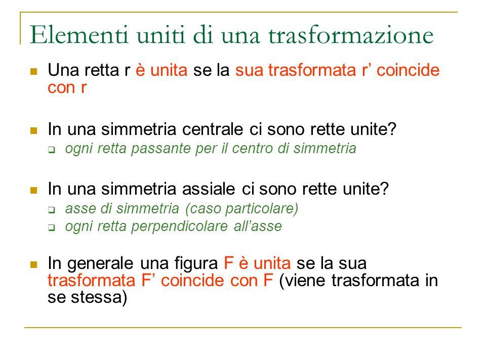 Elementi uniti di una trasformazione Una retta r è unita se la sua trasformata r coincide con r In una simmetria centrale ci sono rette unite? ogni re