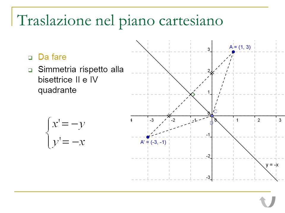 Traslazione nel piano cartesiano Da fare Simmetria rispetto alla bisettrice II e IV quadrante
