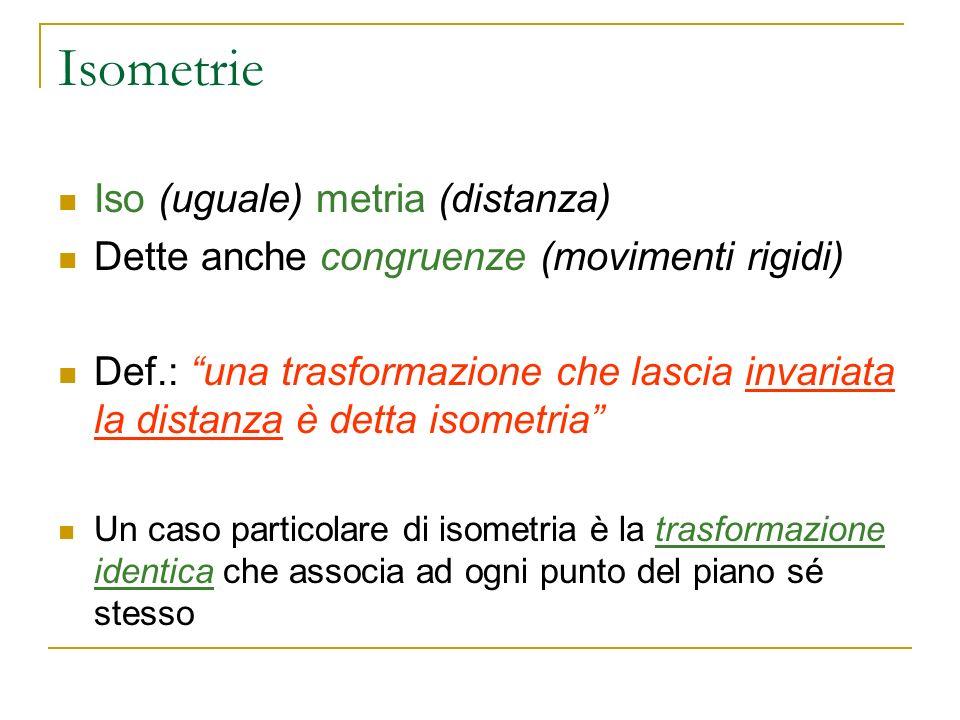 Isometrie Iso (uguale) metria (distanza) Dette anche congruenze (movimenti rigidi) Def.: una trasformazione che lascia invariata la distanza è detta i