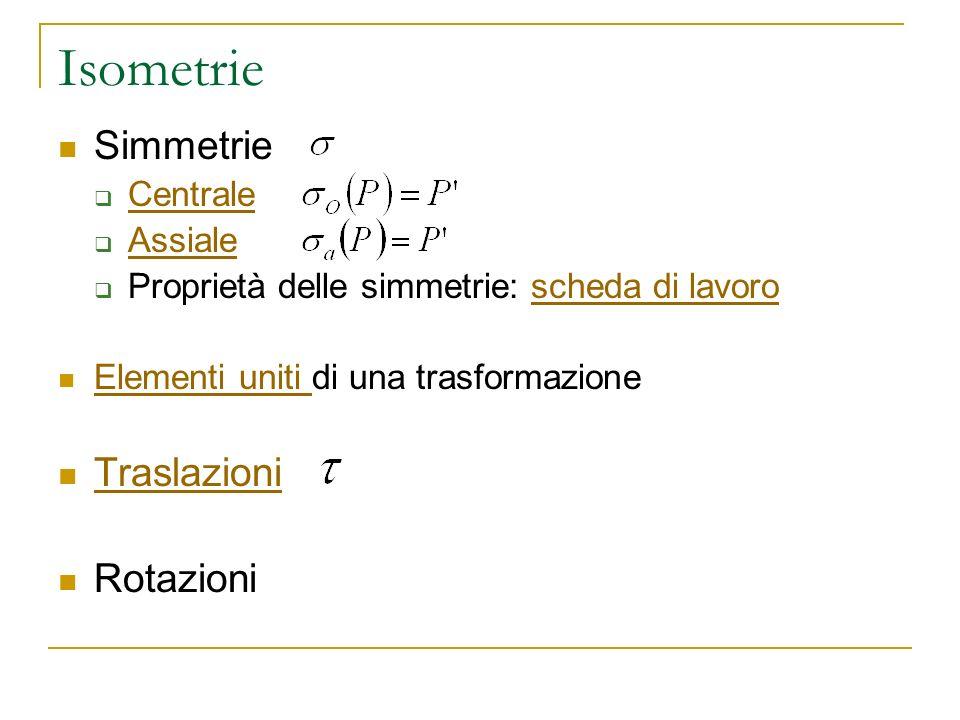 Isometrie Simmetrie Centrale Assiale Proprietà delle simmetrie: scheda di lavoroscheda di lavoro Elementi uniti di una trasformazione Elementi uniti T