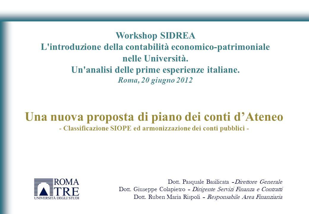 Workshop SIDREA L'introduzione della contabilità economico-patrimoniale nelle Università. Un'analisi delle prime esperienze italiane. Roma, 20 giugno