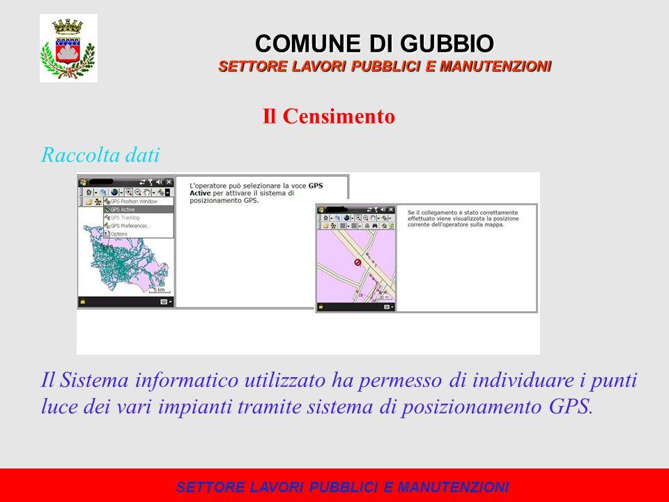 COMUNE DI GUBBIO SETTORE LAVORI PUBBLICI E MANUTENZIONI Il Censimento Il Sistema informatico utilizzato ha permesso di individuare i punti luce dei va