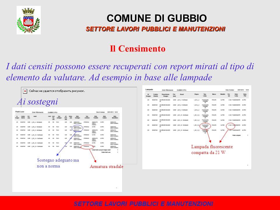 COMUNE DI GUBBIO SETTORE LAVORI PUBBLICI E MANUTENZIONI Il Censimento I dati censiti possono essere recuperati con report mirati al tipo di elemento d