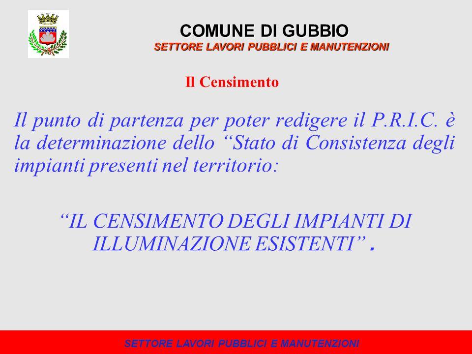 Il punto di partenza per poter redigere il P.R.I.C. è la determinazione dello Stato di Consistenza degli impianti presenti nel territorio: IL CENSIMEN
