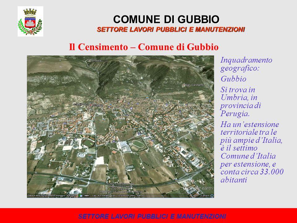 COMUNE DI GUBBIO SETTORE LAVORI PUBBLICI E MANUTENZIONI Il Censimento – Comune di Gubbio Inquadramento geografico: Gubbio Si trova in Umbria, in provi