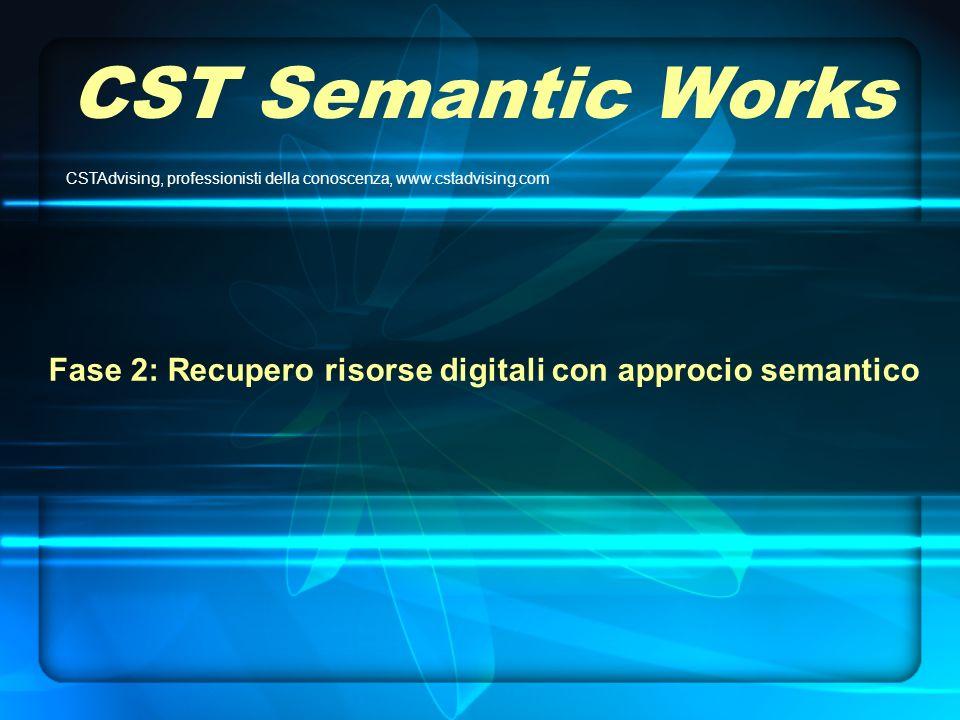 CST Semantic Works Fase 2: Recupero risorse digitali con approcio semantico CSTAdvising, professionisti della conoscenza, www.cstadvising.com
