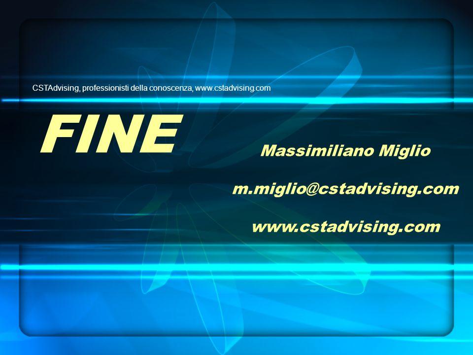 FINE CSTAdvising, professionisti della conoscenza, www.cstadvising.com Massimiliano Miglio m.miglio@cstadvising.com www.cstadvising.com