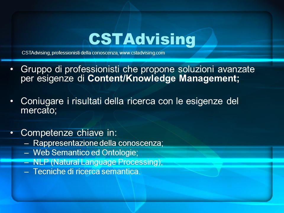 CST Semantic Works: caso duso(1) Fase 1: Organizzazione semi-automatica di contenuti digitali CSTAdvising, professionisti della conoscenza, www.cstadvising.com