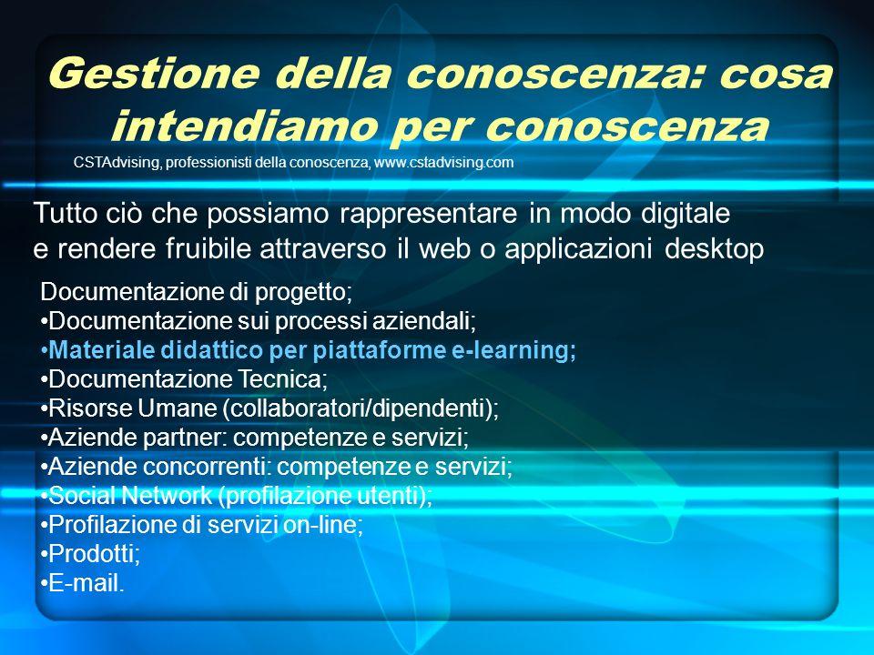Gestione della conoscenza: cosa intendiamo per conoscenza CSTAdvising, professionisti della conoscenza, www.cstadvising.com Documentazione di progetto; Documentazione sui processi aziendali; Materiale didattico per piattaforme e-learning; Documentazione Tecnica; Risorse Umane (collaboratori/dipendenti); Aziende partner: competenze e servizi; Aziende concorrenti: competenze e servizi; Social Network (profilazione utenti); Profilazione di servizi on-line; Prodotti; E-mail.