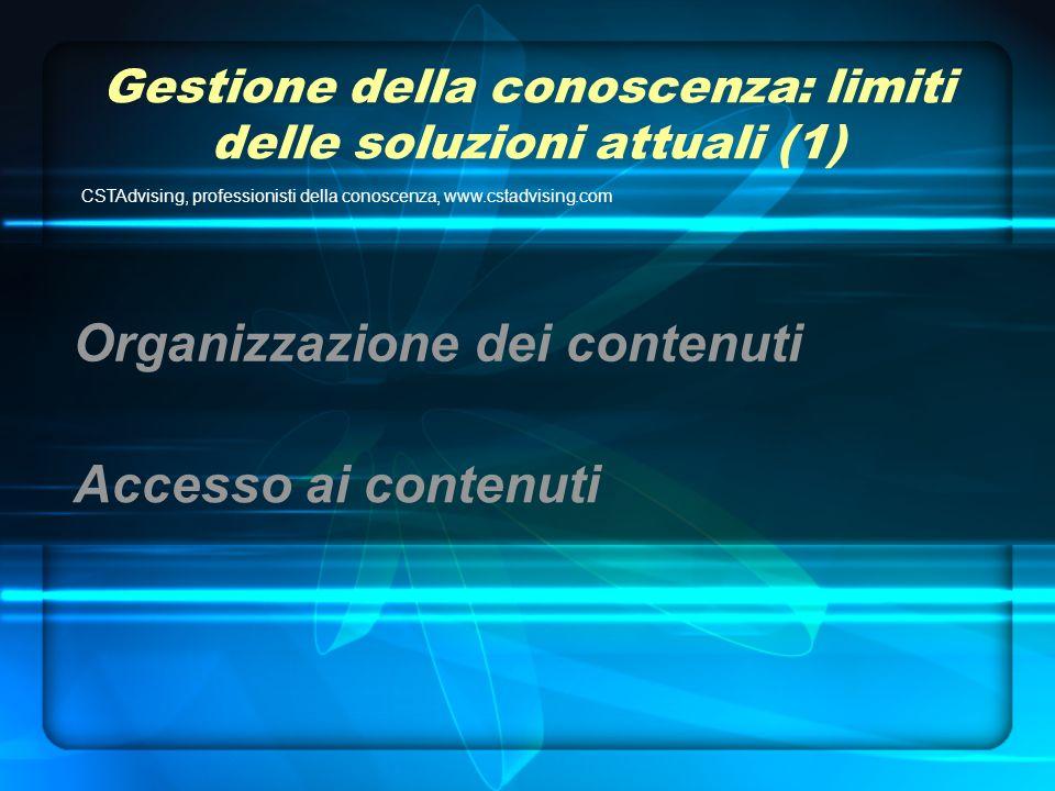 Gestione della conoscenza: limiti delle soluzioni attuali (1) CSTAdvising, professionisti della conoscenza, www.cstadvising.com Accesso ai contenuti Organizzazione dei contenuti