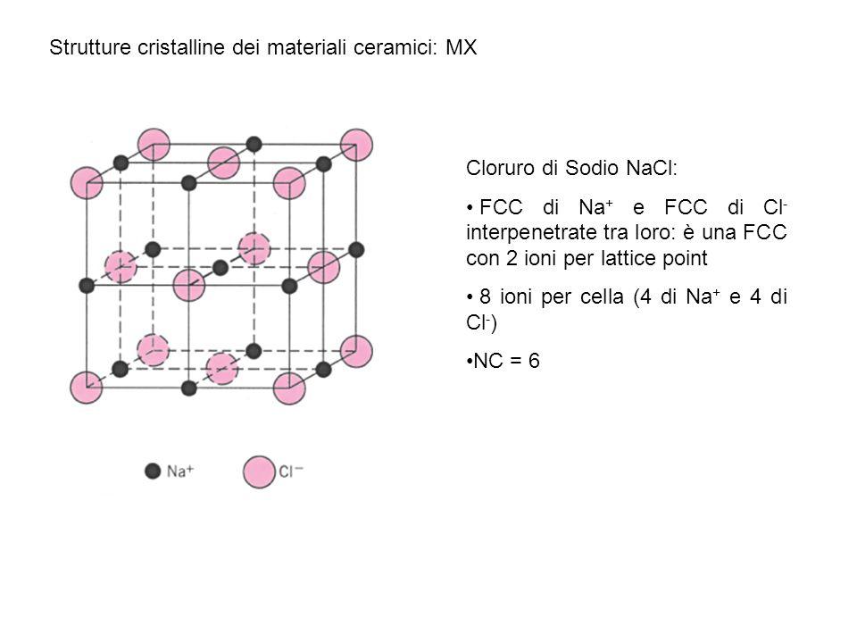 Strutture cristalline dei materiali ceramici: MX Cloruro di Sodio NaCl: FCC di Na + e FCC di Cl - interpenetrate tra loro: è una FCC con 2 ioni per la
