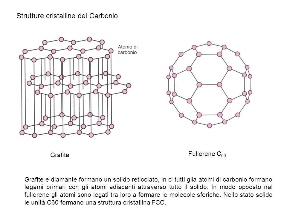 Grafite Strutture cristalline del Carbonio Fullerene C 60 Grafite e diamante formano un solido reticolato, in ci tutti glia atomi di carbonio formano