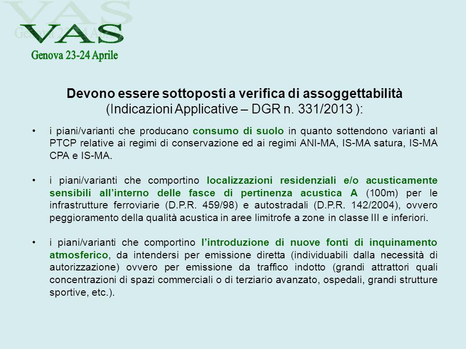 Devono essere sottoposti a verifica di assoggettabilità (Indicazioni Applicative – DGR n. 331/2013 ): i piani/varianti che producano consumo di suolo