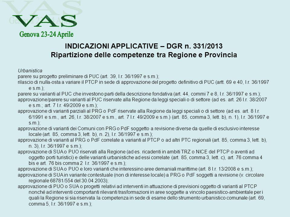 INDICAZIONI APPLICATIVE – DGR n. 331/2013 Ripartizione delle competenze tra Regione e Provincia Urbanistica parere su progetto preliminare di PUC (art
