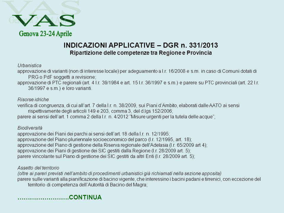 INDICAZIONI APPLICATIVE – DGR n. 331/2013 Ripartizione delle competenze tra Regione e Provincia Urbanistica approvazione di varianti (non di interesse