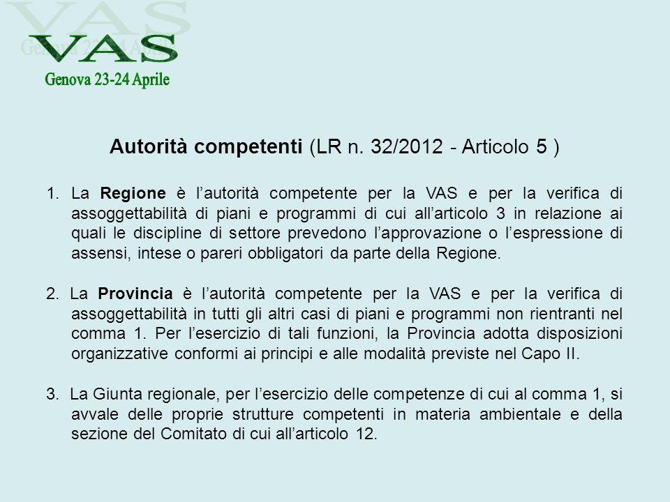 Autorità competenti (LR n. 32/2012 - Articolo 5 ) 1.La Regione è lautorità competente per la VAS e per la verifica di assoggettabilità di piani e prog