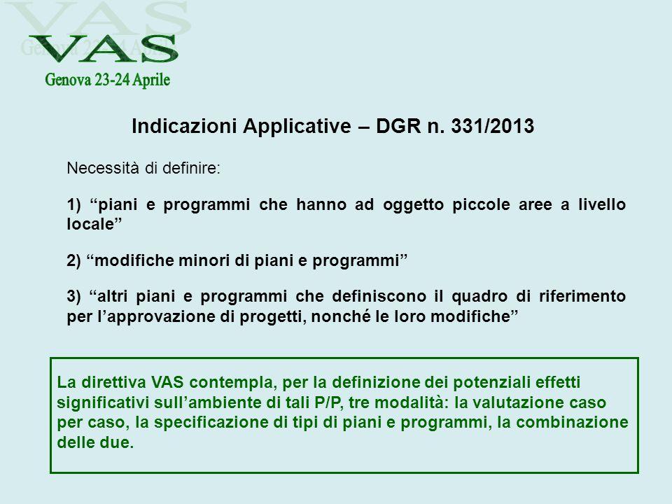 Indicazioni Applicative – DGR n. 331/2013 Necessità di definire: 1) piani e programmi che hanno ad oggetto piccole aree a livello locale 2) modifiche