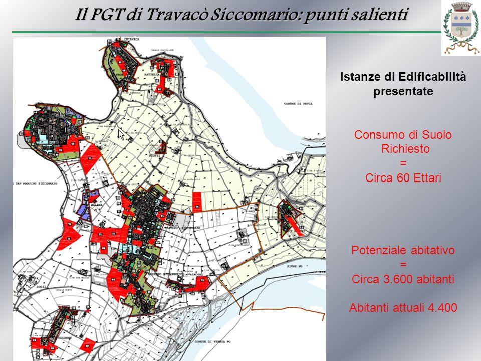 Il PGT di Travacò Siccomario: punti salienti Istanze di Edificabilità presentate Consumo di Suolo Richiesto = Circa 60 Ettari Potenziale abitativo = C
