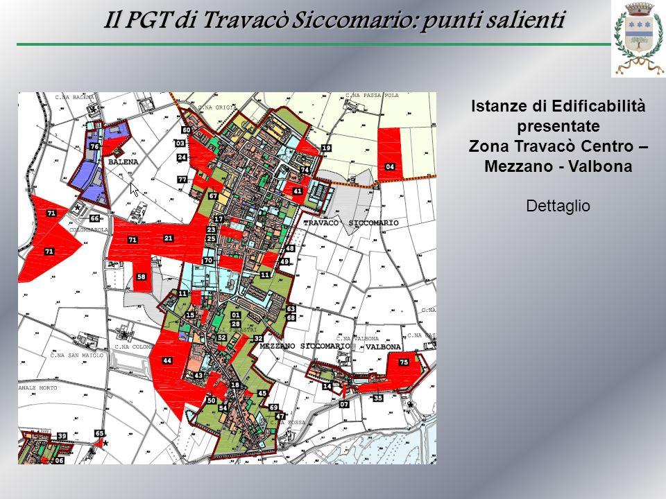 Il PGT di Travacò Siccomario: punti salienti Istanze di Edificabilità presentate Zona Travacò Centro – Mezzano - Valbona Dettaglio