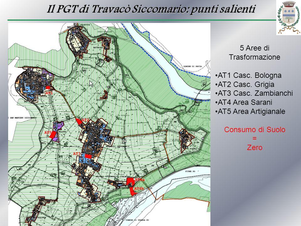 Il PGT di Travacò Siccomario: punti salienti 5 Aree di Trasformazione AT1 Casc. Bologna AT2 Casc. Grigia AT3 Casc. Zambianchi AT4 Area Sarani AT5 Area